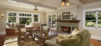 Awesome Craftsman Style Interiors for Home Inspiration: Adorable Living Room Interior Design Finished With Large Fireplace Combined With Craftsman Style Interiors In The Inside