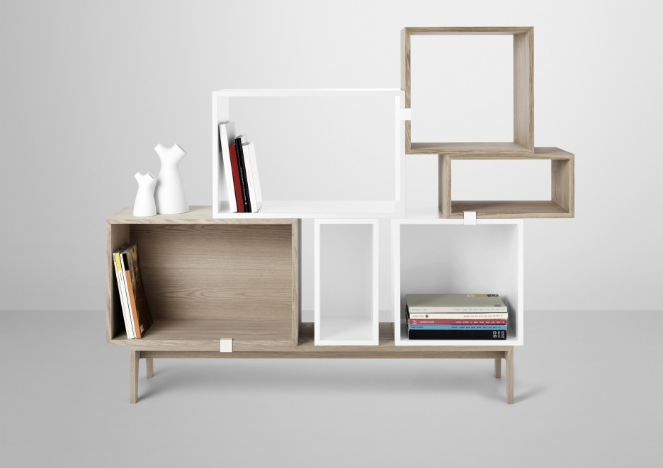 Wonderful Modular Shelving Units with the Best Design: Adorable Shelvig Unit Suitable For Office Space Made From Wooden Material On Grey Flooring Unit Idea
