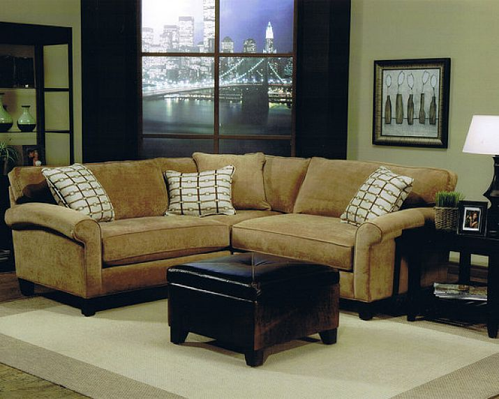 Adorable small sectional sofa for small living room with rustic yellow