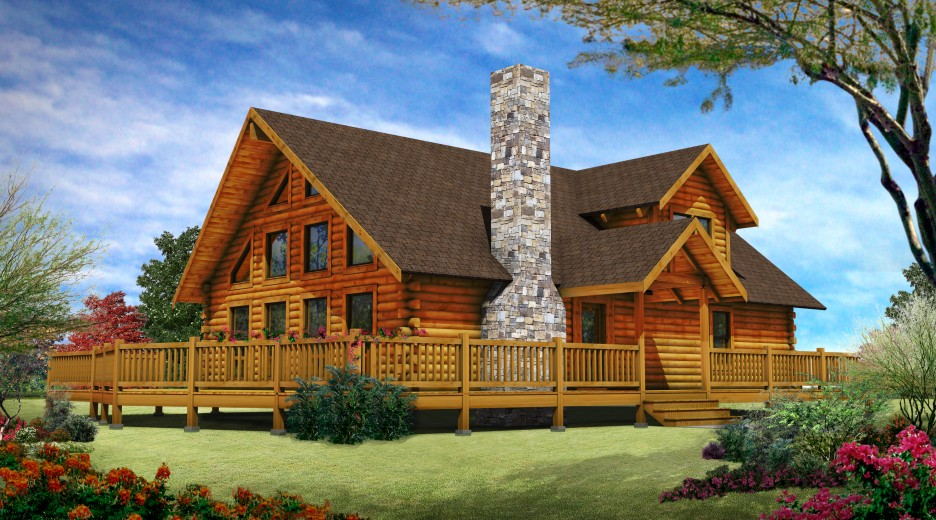 Design a stone and log house joy studio design gallery for Log and stone home plans