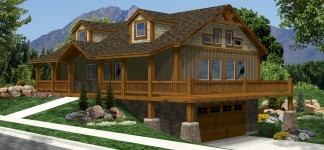 Luxury Log Home Plans for Bold Natural Image: Amazing Luxury Log Home Plans Finished In Modern Design With Green View Showcased From House Front Yard Area Design
