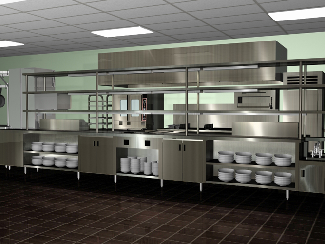 Kitchen: Amazing Modern Spacious Commercial Kitchen Design Chrome