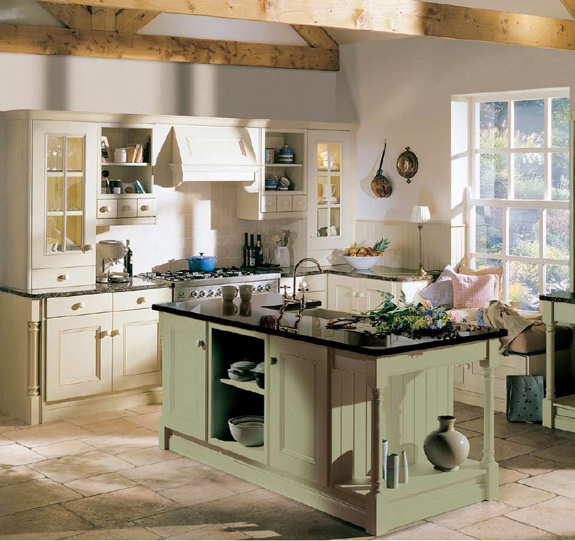 Kitchen: Appealing Country Kitchen Designs With White Wall ...