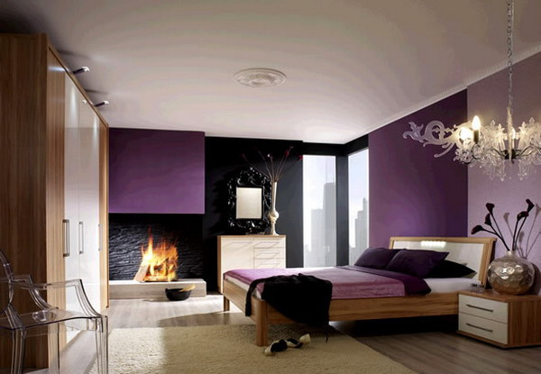 Bedroom: Amazing Modern Purple White Wooden Furniture Bedroom ...