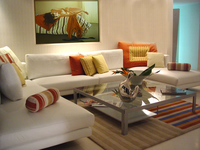 Furniture: Beautiful Interior Design Of Living Room White Sofas