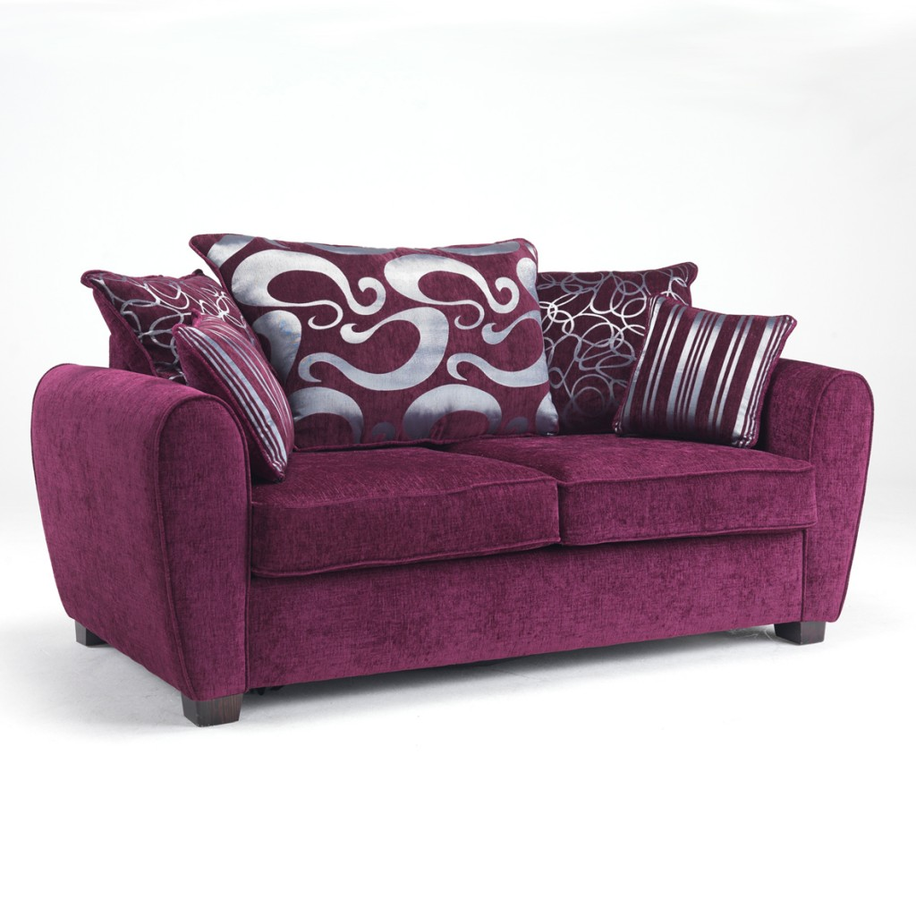 Modern living room with cushions home decorating excellence for Purple sofa