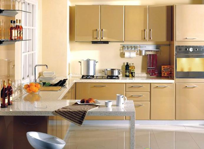 Kitchen Countertop Paint Colors : Paint to Live-up Kitchen Interior ? Brown Color Baked Paint Kitchen ...