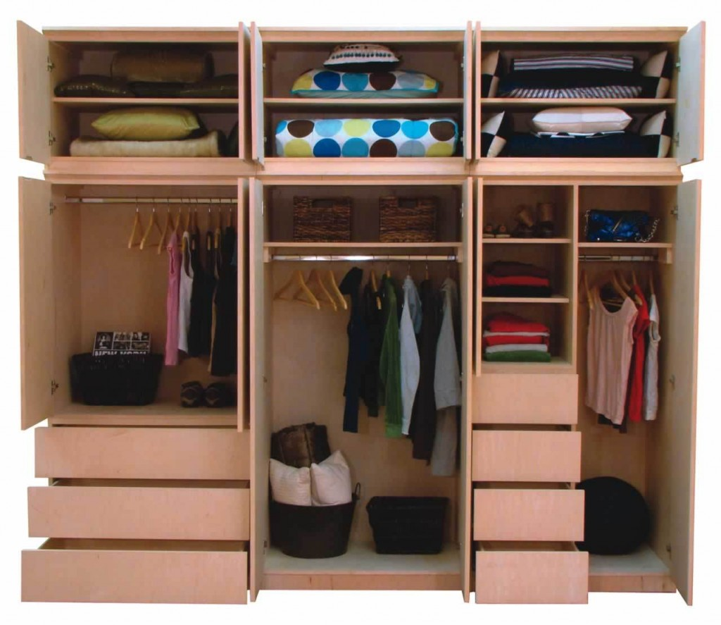 Bedroom: Creative Cupboard Design With Brown Shelving Unit