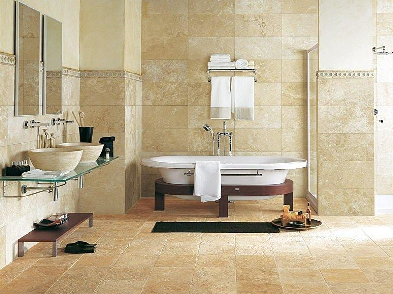 Bathroom: Eclectic Bathroom Interior Design Travertine Tile
