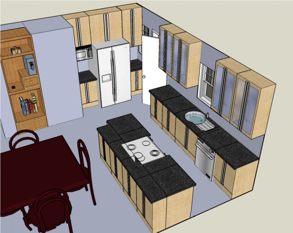Kitchen: Elegant Design Your Own Kitchen Plans In 3D View With