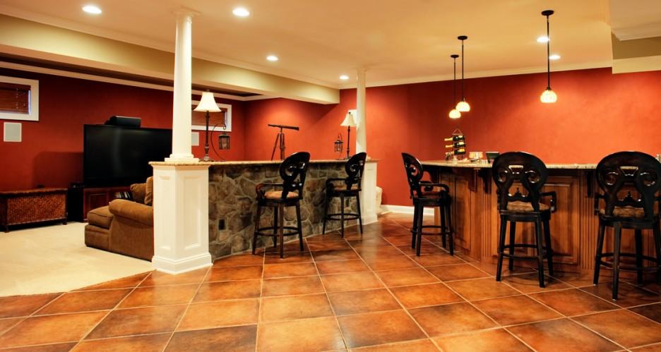 basement bar stool bench design with large tile flooring unit idea