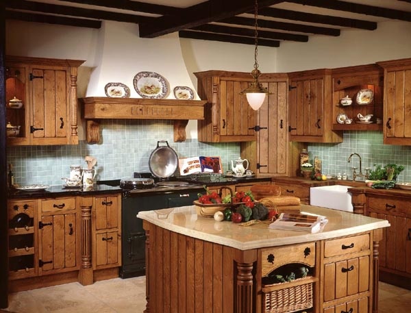 Kitchen: Gorgeous Wooden Style Country Kitchen Designs Granite ...