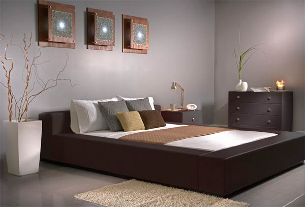 Magnificent Modern Style Gray Interior Bedroom Color Schemes Ideas Equipped with Dark Brwn Color of Bedding Unit with Drawers - Bedding styles