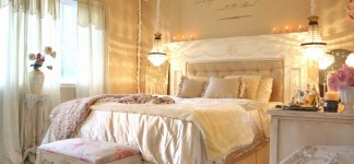 Alluring Shabby Chic Bedroom Ideas for Fanciful Interior: Magnificent Shabby Chic Bedroom Ideas Modern Artistic Design Equipped With Cream Color Of Walling Unit With Two Pendant Lamps Idea Plan