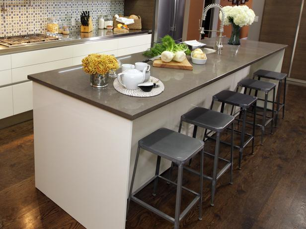 Modern Gray Color Kitchen Islands With Stools Design Finished In Grey