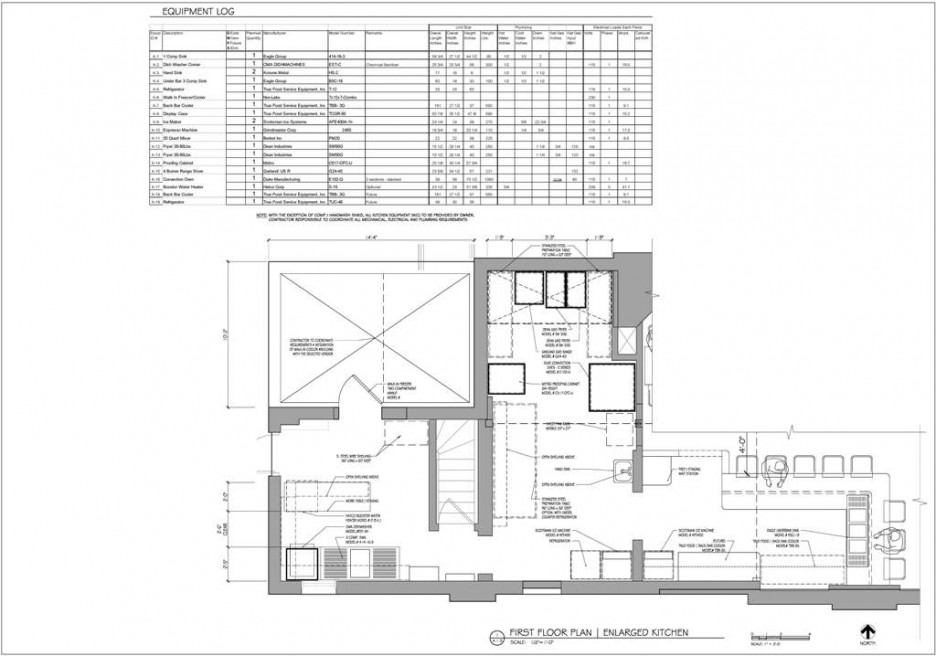 Kitchen: Modern Commercial Kitchen Design With Detail Floor Plan