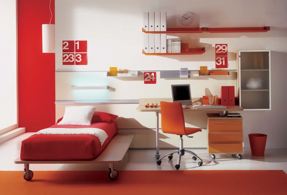 bunk bed plans and colors for lively children room red color scheme