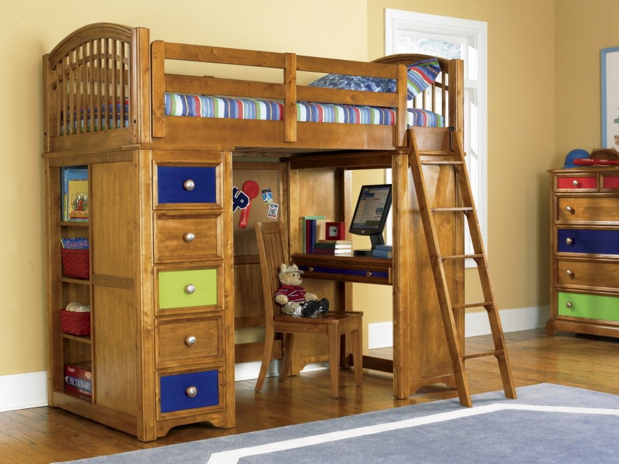Loft Bunk Beds with Desk and Drawers 888 x 666