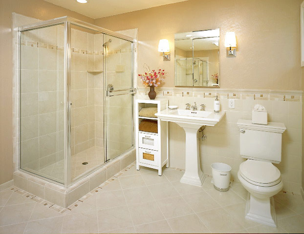 Bathroom: Stunning Small Bathroom Tile Ideas With Beige Concrete ...