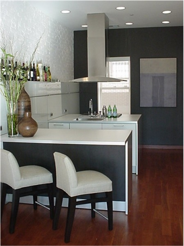Kitchen: Stunning White Cabinets Black Dining Table Small Kitchen