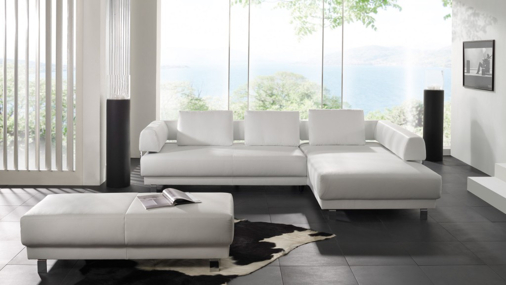 Furniture: Wonderful Modern Style Minimalist White Schillig Sofa ...