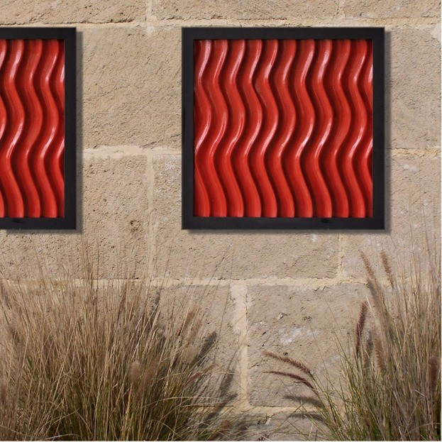 artistic outdoor wall art in the patio wonderful outdoor wall art red