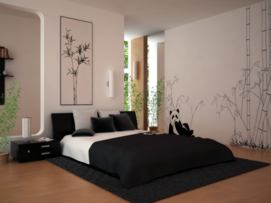 Wall painting decoration modern interior bedroom wall for Black and white modern bedroom ideas
