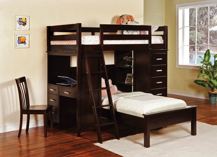 beds ith black color with l shaped completed with small study room
