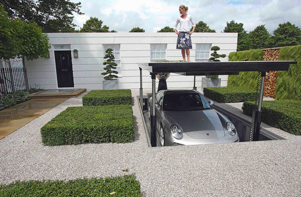 Architecture: Awesome Hidden Underground Garage Design For House ...