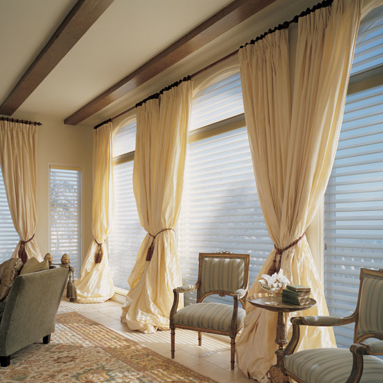 Furniture: Beautiful Cream Curtain Ideas For Large Windows Design ...