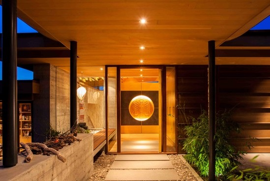 Villa: Beautiful Entry Design With Modern Glass Door And Concrete ...