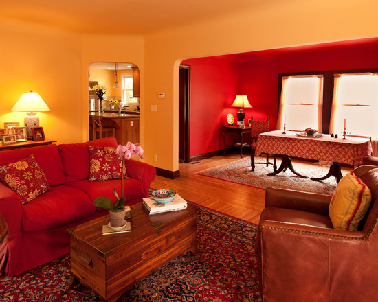 Another cabin livingroom with great use of red walls and for Brown red living room ideas