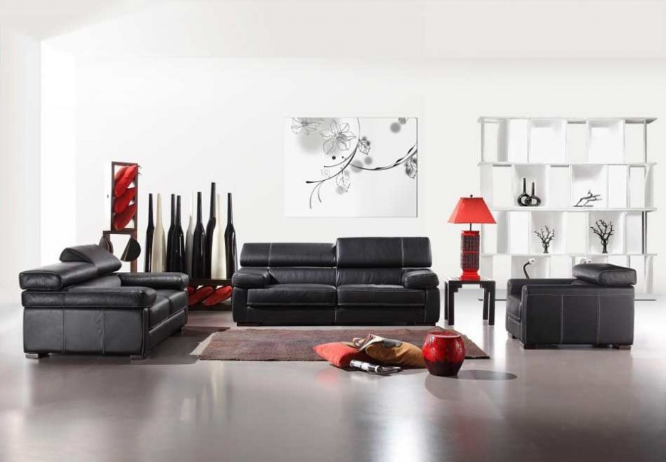 Black-Sofa-Set-of-Modern- ...