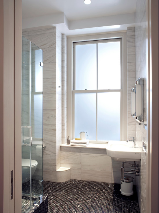 Bright Modern Bathroom Design With Screened Shower And Glass Tile