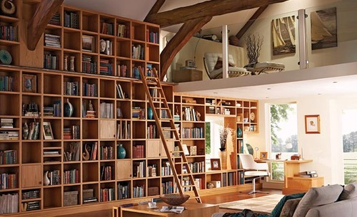 Interior Home: Contemporary Old Custom Home Library Design