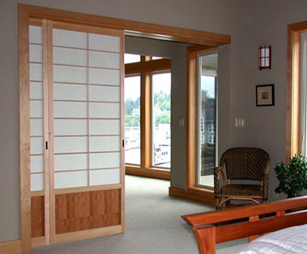 Furniture: Luxurious Japanese Sliding Doors With Wooden Frame Idea ...