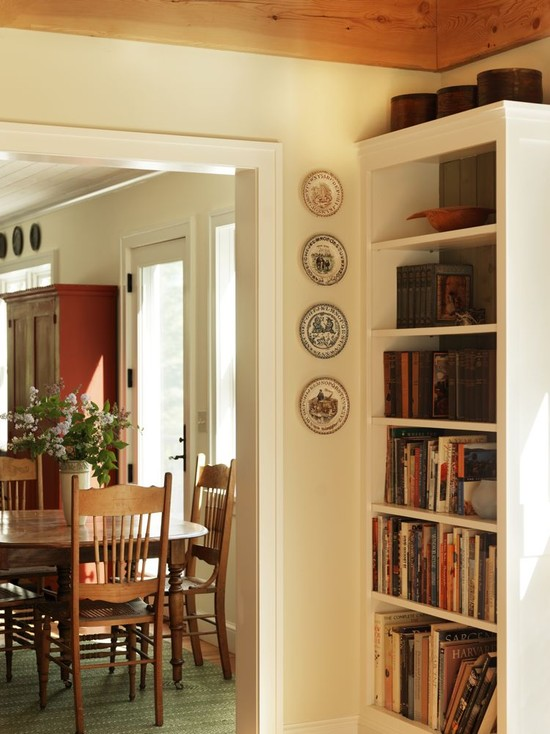 ... Traditional Dining Room Decor With Wooden Bookcase Wooden Dining Table