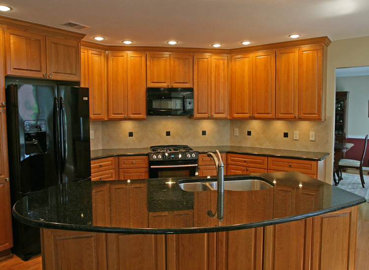 ideas with wooden kitchen cabinet dark marble countertop travertine