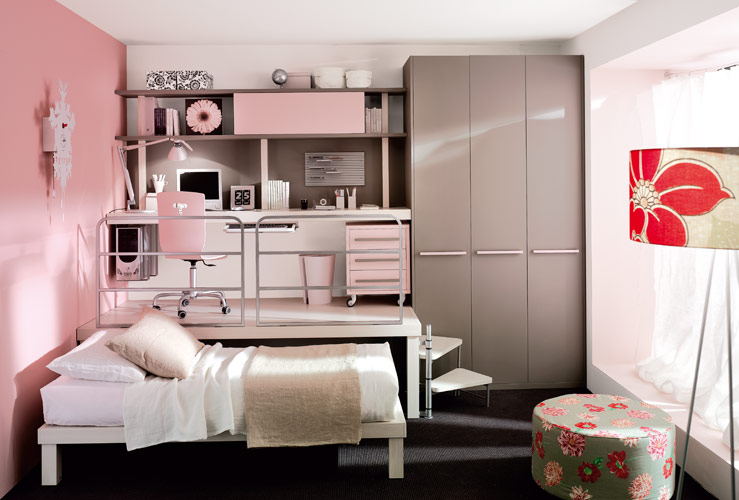Bedroom: Creative Loft Bedroom Interior In Pink Decoration Of ...