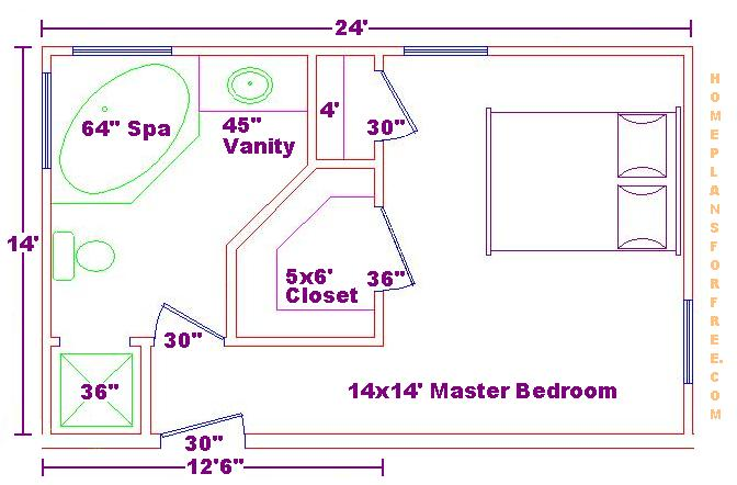 ... Plans Interior Home Design For Spacious Bedroom With Bathroom And Walk