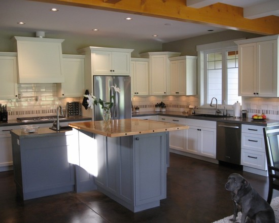 Kitchen Area With White Cabinets Grey Island Brown Floor White Ceiling