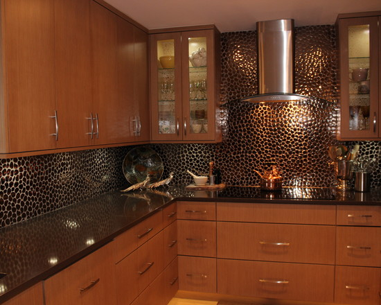 extravagant kitchen design with small tile backsplash and solid wood