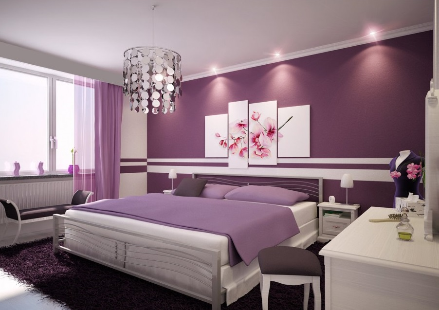 purple bedroom combined in white accents color decor and crystal