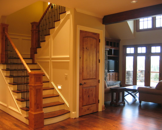 Wooden Staircase Design And Amazing Carving Front Entry Door Pictures