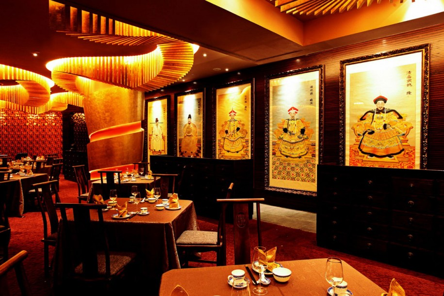 Restaurant: Great Asian Restaurant Interior Design Oriental Wall