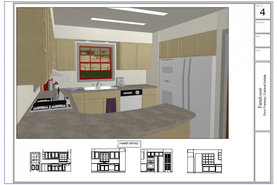 Kitchen: Great Small Kitchen Layout Plan In 3D View Design Using