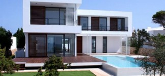 Amazing House Beautiful Paint Colors with Classic Interior: Incredible House Beautiful Paint Colors With Wooden Curtain Completed With Pool Design And Green Landscaping Ideas For Inspiration