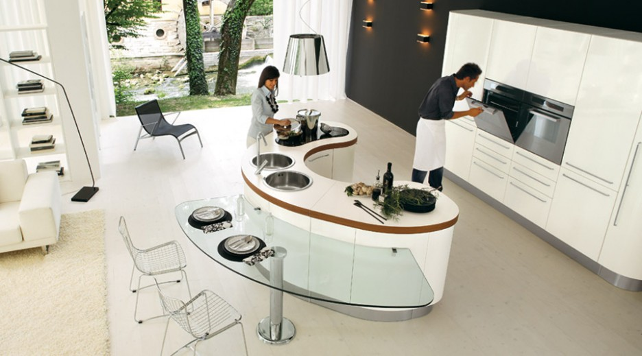 Kitchen: Modern Curved Kitchen Islands With Stools Contemporary ...