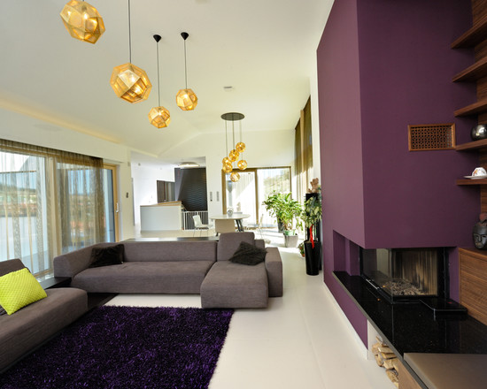 Architecture: Modern Fireplace Without Mantel Completed With Glass ...