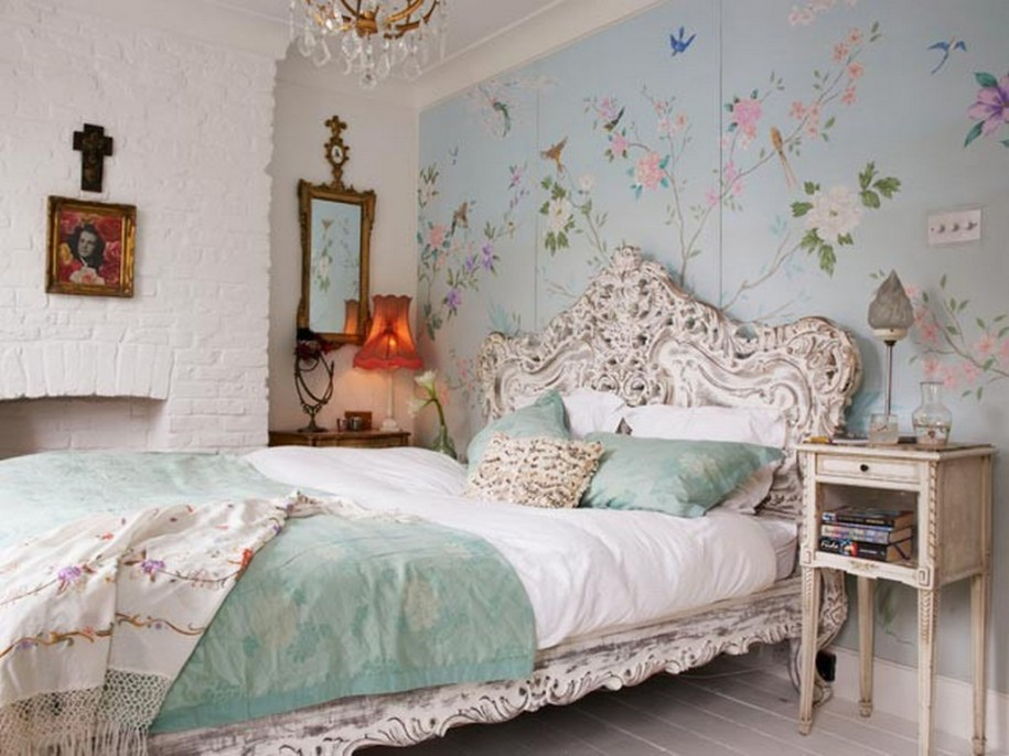 wallpaper design idea in blue for vintage bedroom ideas used floral